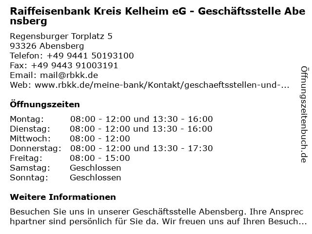 Raiffeisenbank Kreis Kelheim eG - Geschäftsstelle Abensberg in Abensberg: Adresse und Öffnungszeiten