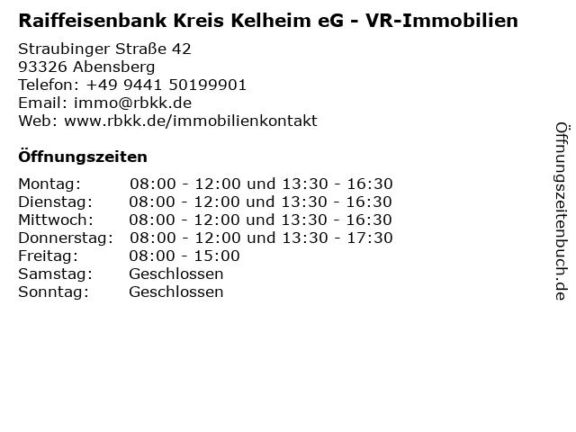 Raiffeisenbank Kreis Kelheim eG - RaiffeisenFinanzCenter Abensberg in Abensberg: Adresse und Öffnungszeiten