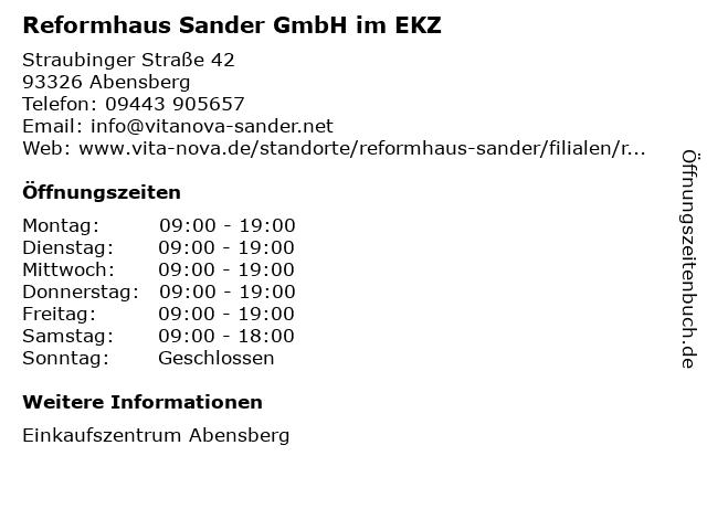 Reformhaus Sander GmbH im EKZ in Abensberg: Adresse und Öffnungszeiten