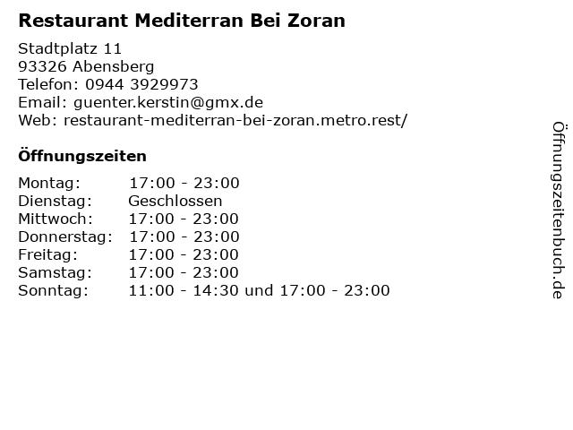 Restaurant Mediterran Bei Zoran in Abensberg: Adresse und Öffnungszeiten