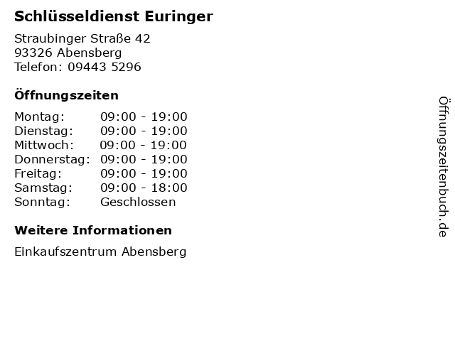 Schlüsseldienst Euringer in Abensberg: Adresse und Öffnungszeiten