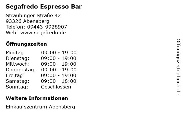 Segafredo Espresso Bar in Abensberg: Adresse und Öffnungszeiten