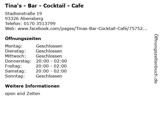 Tina's - Bar - Cocktail - Cafe in Abensberg: Adresse und Öffnungszeiten