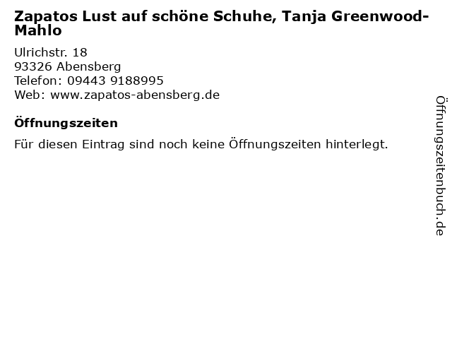 Zapatos Lust auf schöne Schuhe, Tanja Greenwood-Mahlo in Abensberg: Adresse und Öffnungszeiten