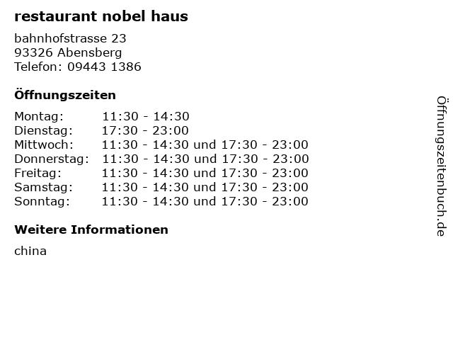 restaurant nobel haus in Abensberg: Adresse und Öffnungszeiten