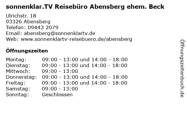sonnenklar.TV Reisebüro Abensberg ehem. Beck in Abensberg: Adresse und Öffnungszeiten