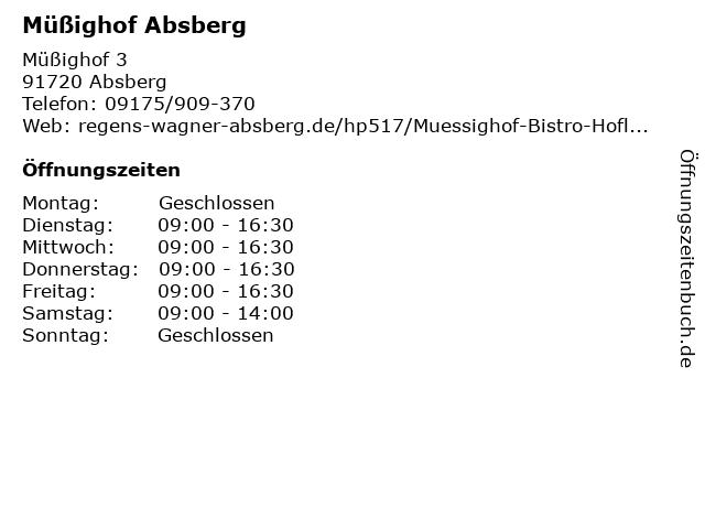 Müßighof Absberg in Absberg: Adresse und Öffnungszeiten