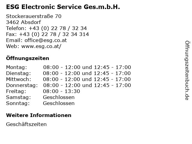 ESG Electronic Service Ges.m.b.H. in Absdorf: Adresse und Öffnungszeiten