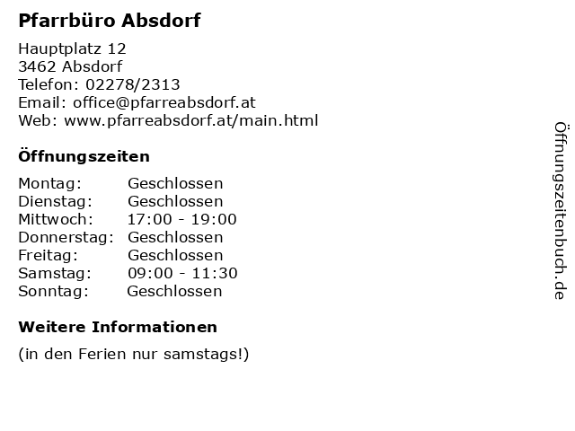 Pfarrbüro Absdorf in Absdorf: Adresse und Öffnungszeiten