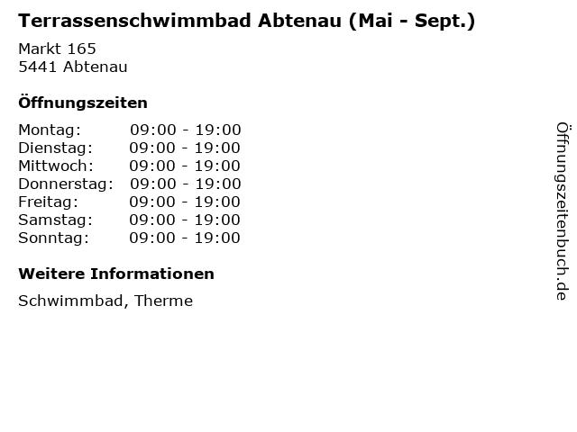Terrassenschwimmbad Abtenau (Mai - Sept.) in Abtenau: Adresse und Öffnungszeiten