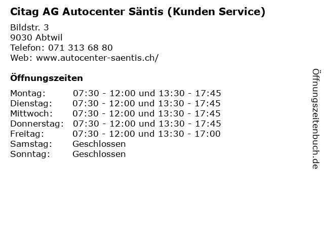 Citag AG Autocenter Säntis (Kunden Service) in Abtwil: Adresse und Öffnungszeiten