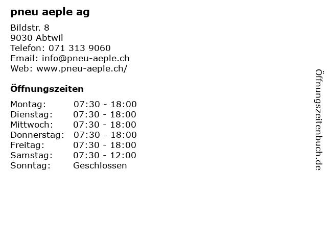 pneu aeple ag in Abtwil: Adresse und Öffnungszeiten