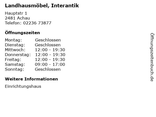 ᐅ öffnungszeiten Landhausmöbel Interantik Hauptstr 1 In Achau