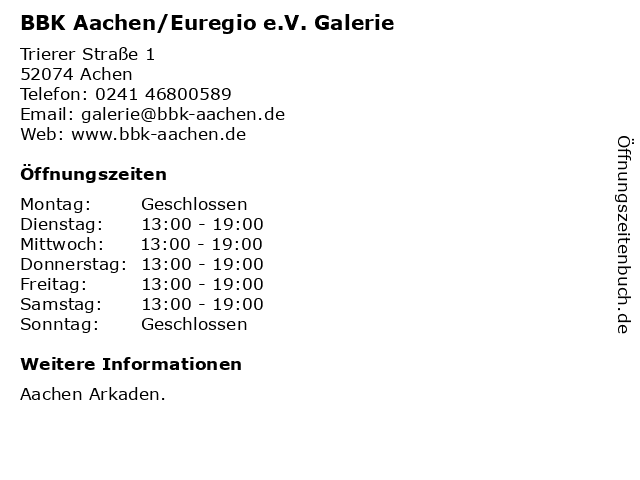 BBK Aachen/Euregio e.V. Galerie in Achen: Adresse und Öffnungszeiten