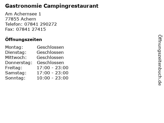 Gastronomie Campingrestaurant in Achern: Adresse und Öffnungszeiten