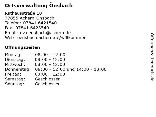 Ortsverwaltung Önsbach in Achern-Önsbach: Adresse und Öffnungszeiten