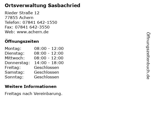 Ortsverwaltung Sasbachried in Achern: Adresse und Öffnungszeiten