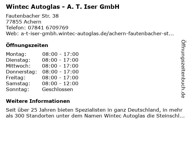 Wintec Autoglas - A. T. Iser GmbH in Achern: Adresse und Öffnungszeiten