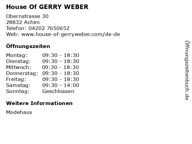 House Of GERRY WEBER in Achim: Adresse und Öffnungszeiten