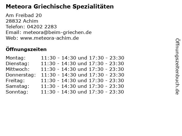 Meteora Griechische Spezialitäten in Achim: Adresse und Öffnungszeiten