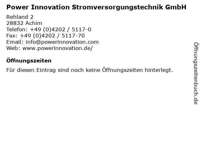 Power Innovation Stromversorgungstechnik GmbH in Achim: Adresse und Öffnungszeiten