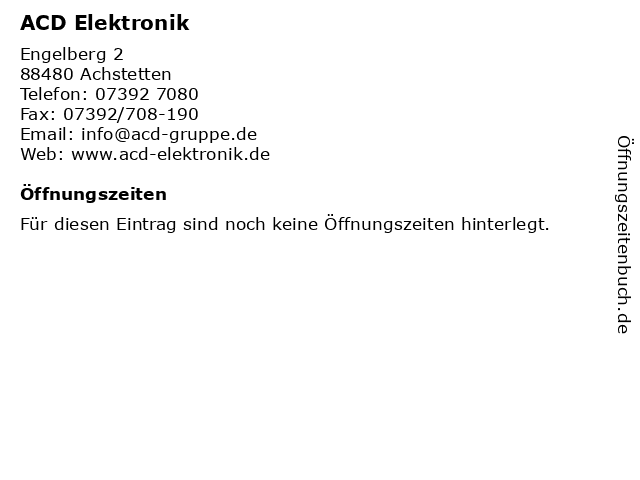ACD Elektronik in Achstetten: Adresse und Öffnungszeiten