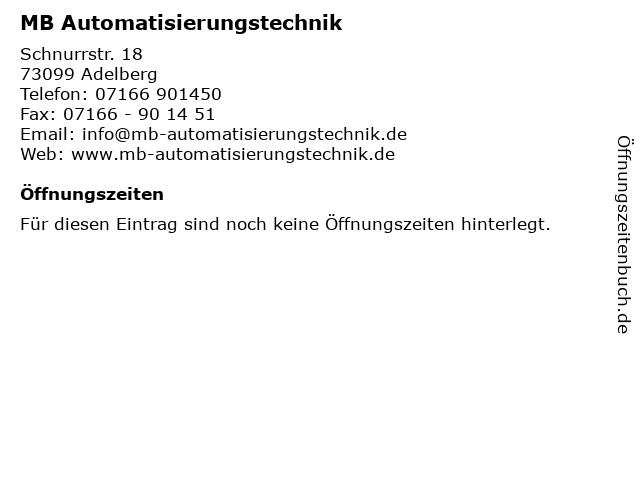 MB Automatisierungstechnik in Adelberg: Adresse und Öffnungszeiten