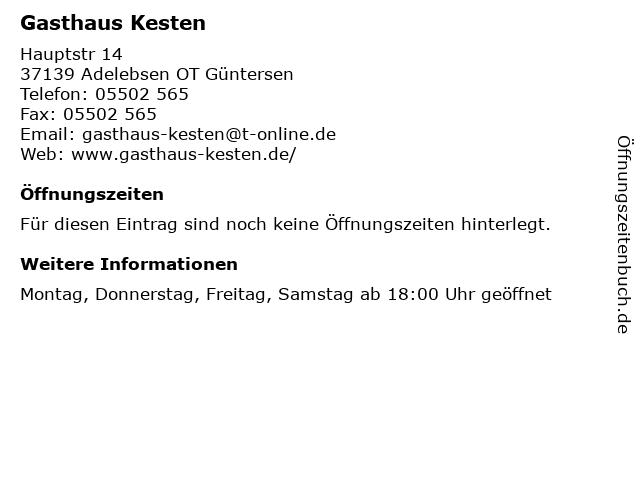 Gasthaus Kesten in Adelebsen OT Güntersen: Adresse und Öffnungszeiten