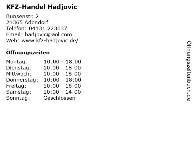 KFZ-Handel Hadjovic in Adendorf: Adresse und Öffnungszeiten
