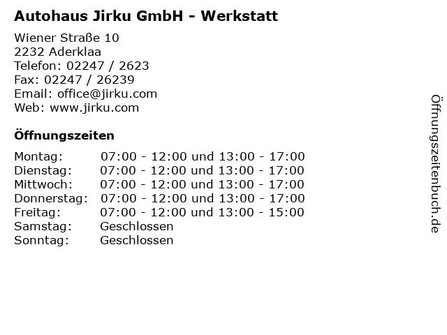 Autohaus Jirku GmbH - Werkstatt in Aderklaa: Adresse und Öffnungszeiten