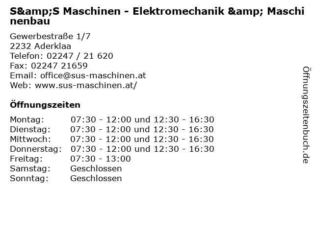 S&S Maschinen - Elektromechanik & Maschinenbau in Aderklaa: Adresse und Öffnungszeiten