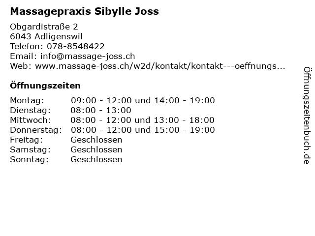 Massagepraxis Sibylle Joss in Adligenswil: Adresse und Öffnungszeiten
