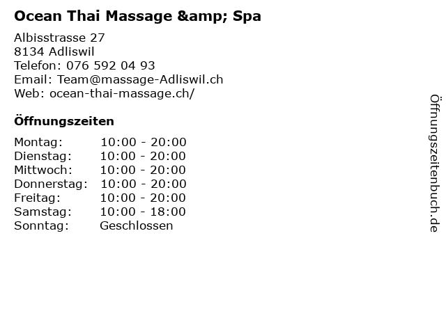 Ocean Thai Massage & Spa in Adliswil: Adresse und Öffnungszeiten