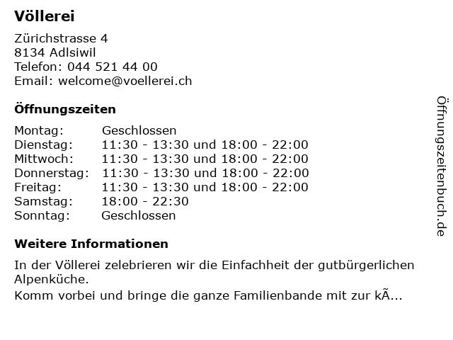 Restaurant Völlerei in Adliswil: Adresse und Öffnungszeiten