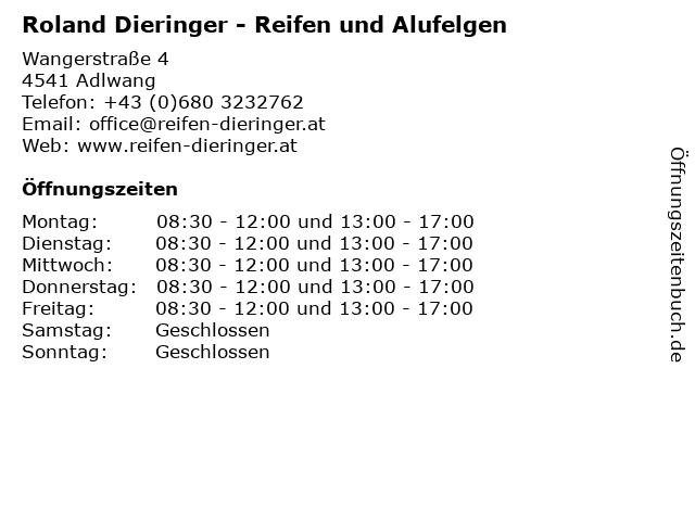 Roland Dieringer - Reifen und Alufelgen in Adlwang: Adresse und Öffnungszeiten