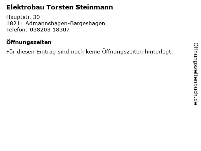 Elektrobau Torsten Steinmann in Admannshagen-Bargeshagen: Adresse und Öffnungszeiten
