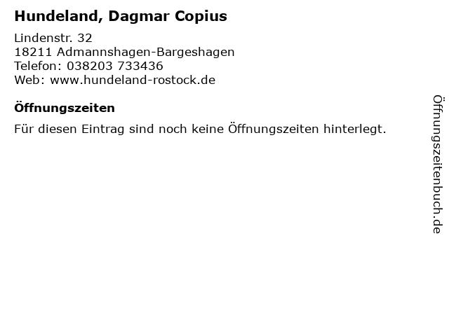 Hundeland, Dagmar Copius in Admannshagen-Bargeshagen: Adresse und Öffnungszeiten