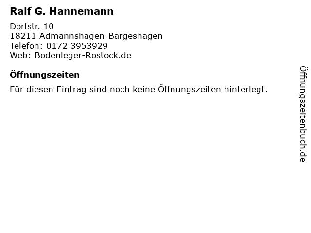 Ralf G. Hannemann in Admannshagen-Bargeshagen: Adresse und Öffnungszeiten
