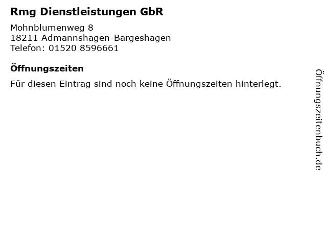 Rmg Dienstleistungen GbR in Admannshagen-Bargeshagen: Adresse und Öffnungszeiten