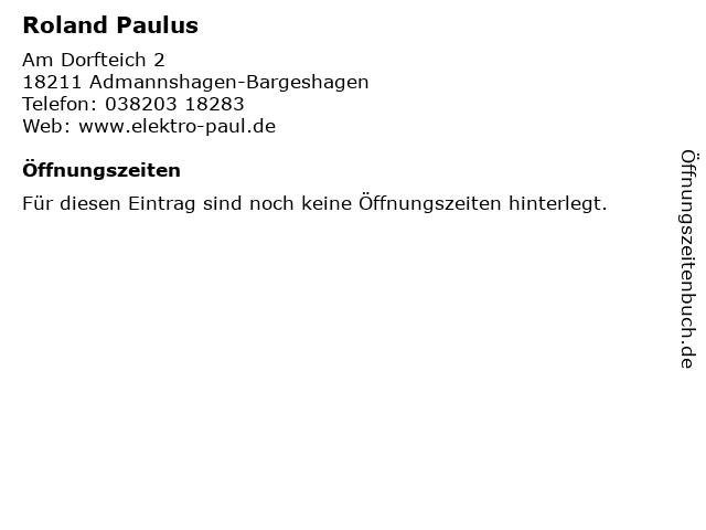 Roland Paulus in Admannshagen-Bargeshagen: Adresse und Öffnungszeiten