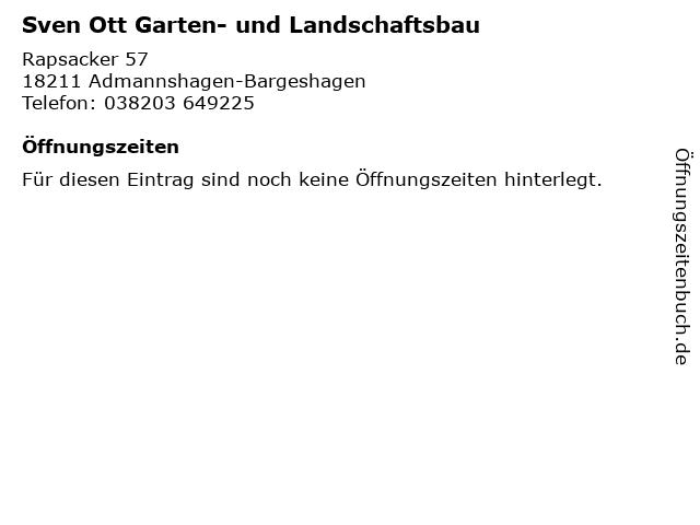 Sven Ott Garten- und Landschaftsbau in Admannshagen-Bargeshagen: Adresse und Öffnungszeiten