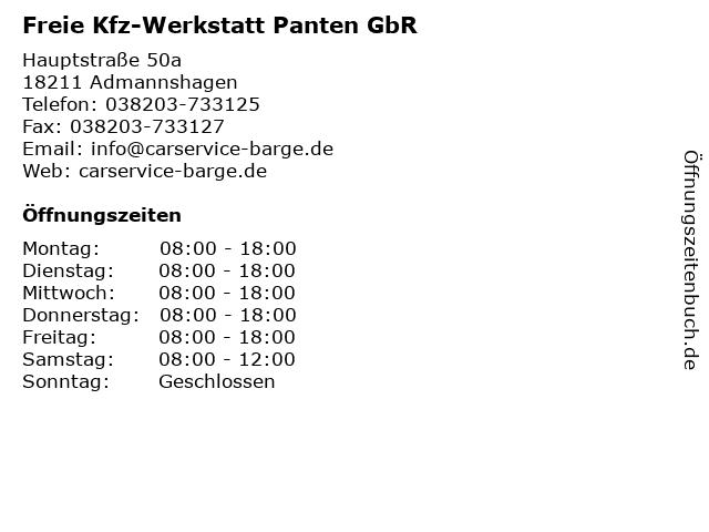 Freie Kfz-Werkstatt Panten GbR in Admannshagen: Adresse und Öffnungszeiten