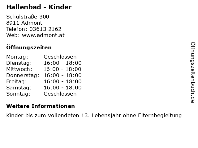 Hallenbad - Kinder in Admont: Adresse und Öffnungszeiten