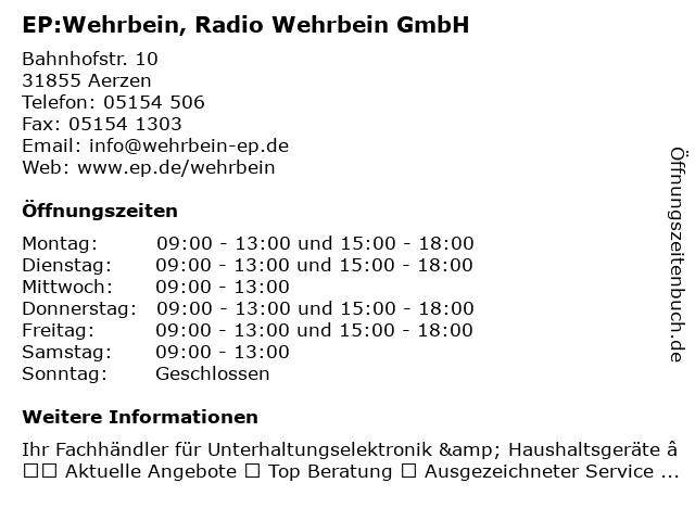 EP:Wehrbein in Aerzen: Adresse und Öffnungszeiten