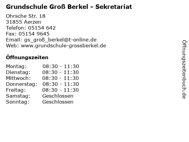 Grundschule Groß Berkel - Sekretariat in Aerzen: Adresse und Öffnungszeiten