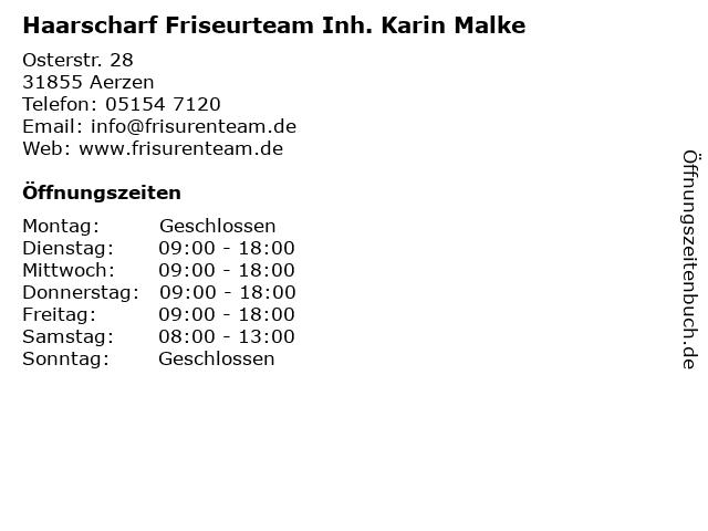 Haarscharf Friseurteam Inh. Karin Malke in Aerzen: Adresse und Öffnungszeiten