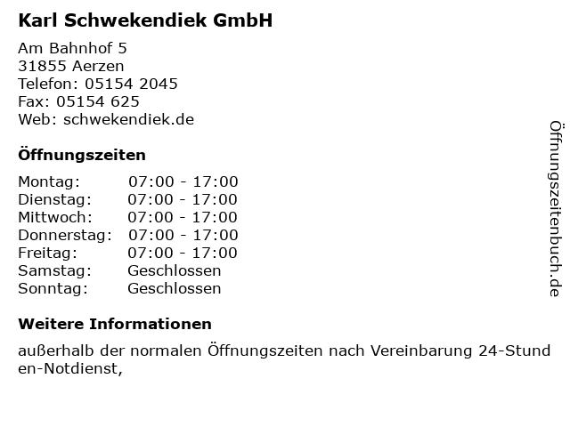 Karl Schwekendiek GmbH in Aerzen: Adresse und Öffnungszeiten