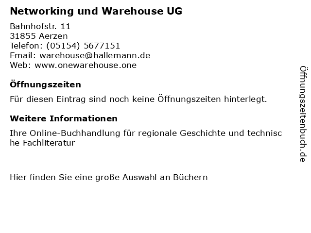 Networking und Warehouse UG in Aerzen: Adresse und Öffnungszeiten
