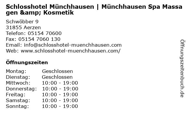 Schlosshotel Münchhausen | Münchhausen Spa Massagen & Kosmetik in Aerzen: Adresse und Öffnungszeiten
