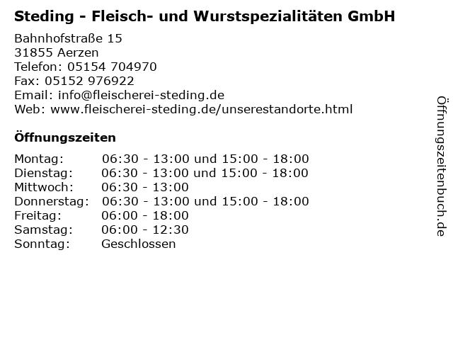 Steding - Fleisch- und Wurstspezialitäten GmbH in Aerzen: Adresse und Öffnungszeiten